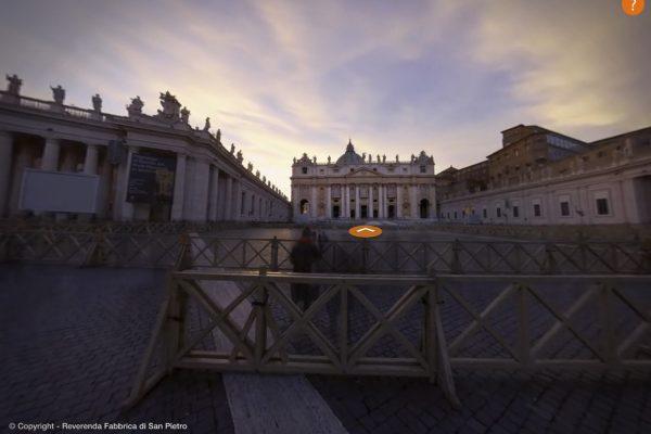 Vom Petersplatz gelangt der Nutzer hinein in den St. Petersdom
